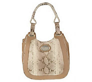 Malini Murjani Metallic Printed Python w/Nappa Leather Trim Hobo Bag - A214503