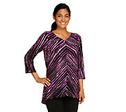 Bob Mackies PainterlyStripe V-Neck Top with Hi-Low Hem - A226903