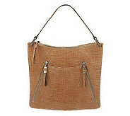 As Is B. Makowsky Croco Embossed Leather Hobo Bag - A237803