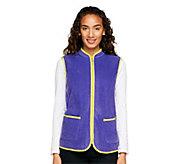 Susan Graver Polar Fleece Zip Front Vest with Contrast Trim - A239803