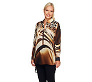 Susan Graver Printed Chiffon Long Sleeve Hi-Low Hem Tunic - A257103