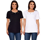 Quacker Factory Set of 2 Grommet Sparkle Short Sleeve T-Shirt - A264503