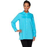 Susan Graver Linen Blend Button Front Long Sleeve Shirt - A265003