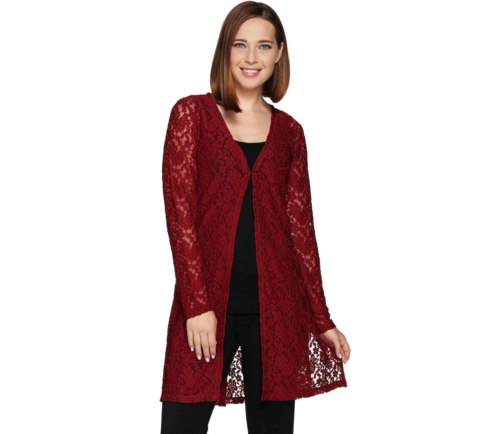 6b78ec28d331d1 Susan Graver Stretch Lace Long Sleeve Open Front Long Cardigan - Page 1 —  QVC.com