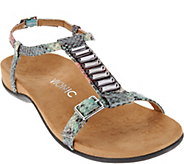 Vionic Orthotic Embellished T-strap Sandals - Navassa - A276203
