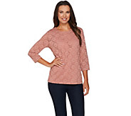 Denim & Co. 3/4 Sleeve Round Neck Lace Top with Jersey Tank - A282203