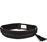 Susan Graver Stretch Belt with Faux Leather and Tassel - A284803
