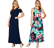 Attitudes by Renee Petite Solid & Printed Set of 2 Dresses - A291603