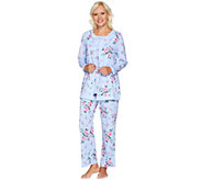 Carole Hochman Cotton Jersey Floral Twin Print 3 Pc Pajama Set - A293903