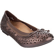 Vionic Orthotic Perforated Leather Ballet Flats - Maddie - A294203