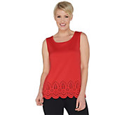 Joan Rivers Scoop Neck Tank with Laser Cut Detail - A302203