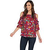 Linea by Louis DellOlio Wild Flower Cold Shoulder Top - A302603