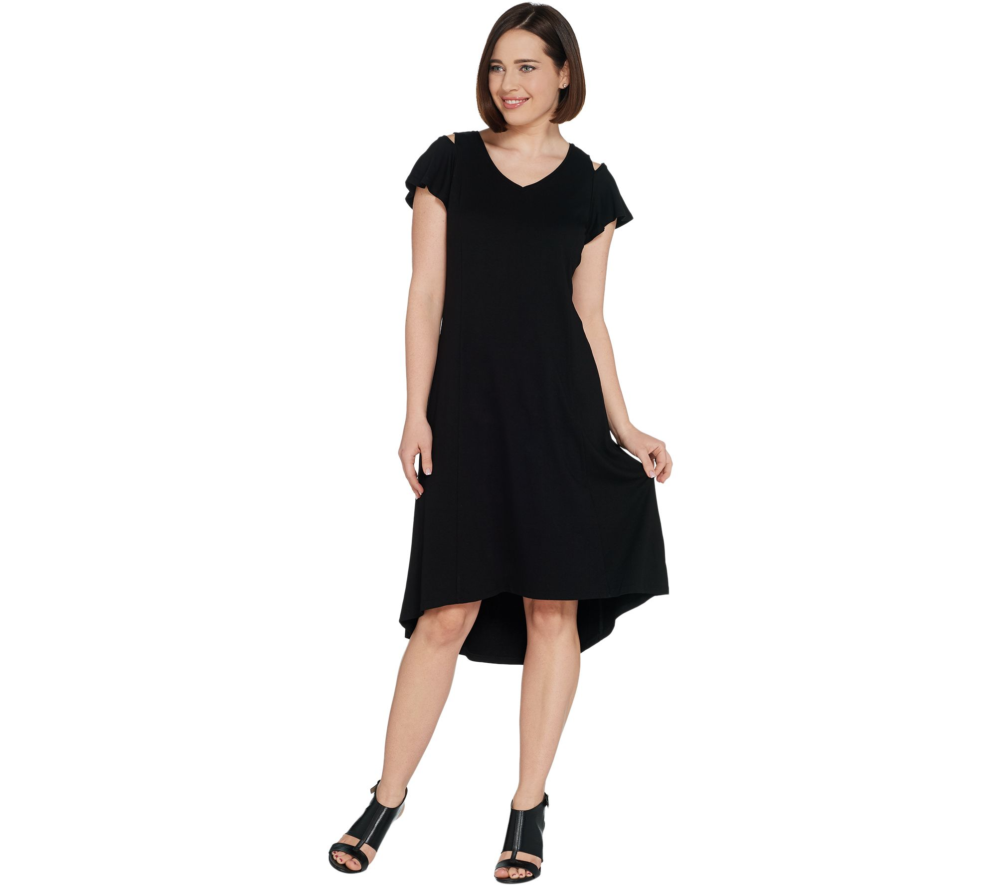 87acfdab166a36 H by Halston Petite Knit Crepe Dress with Cutout Detail - Page 1 ...