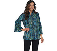 Susan Graver Printed Stretch Woven Bell Sleeve Shirt - A310103