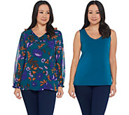 Susan Graver Printed Jacquard Woven Tunic and Knit Tank Set - A310703