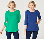 Quacker Factory Essentials Set of Two 3/4-Sleeve Knit Tops - A345103
