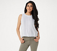 Side Stitch Sleeveless Striped Linen Blend Top with Button Detail - A350103