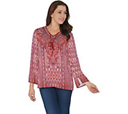 Belle by Kim Gravel Printed Blouse with Beaded Tassels - A350303