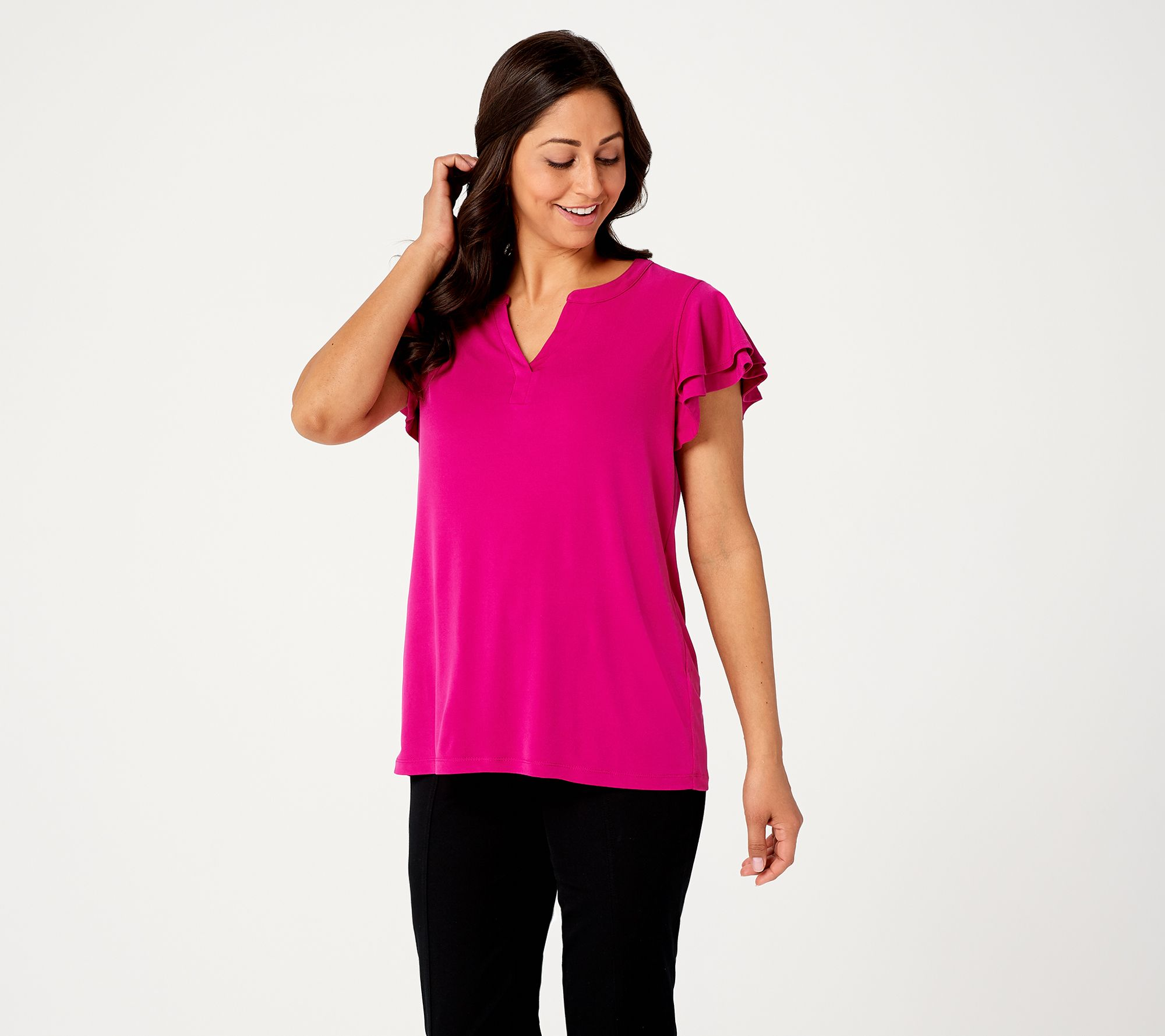 10efe798d Susan Graver Liquid Knit Top with Ruffle Sleeves - Page 1 — QVC.com
