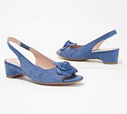 Taryn Rose Sling-Back Heeled Sandals with Rose Detail - Neva - A352303