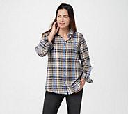 Joan Rivers Multi Color Plaid Button Front Shirt - A366203