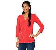 Susan Graver Liquid Knit 3/4 Sleeve V-Neck Top w/ Shirring - A263804