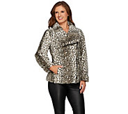 Dennis Basso Printed Faux Fur Moto Jacket - A271104
