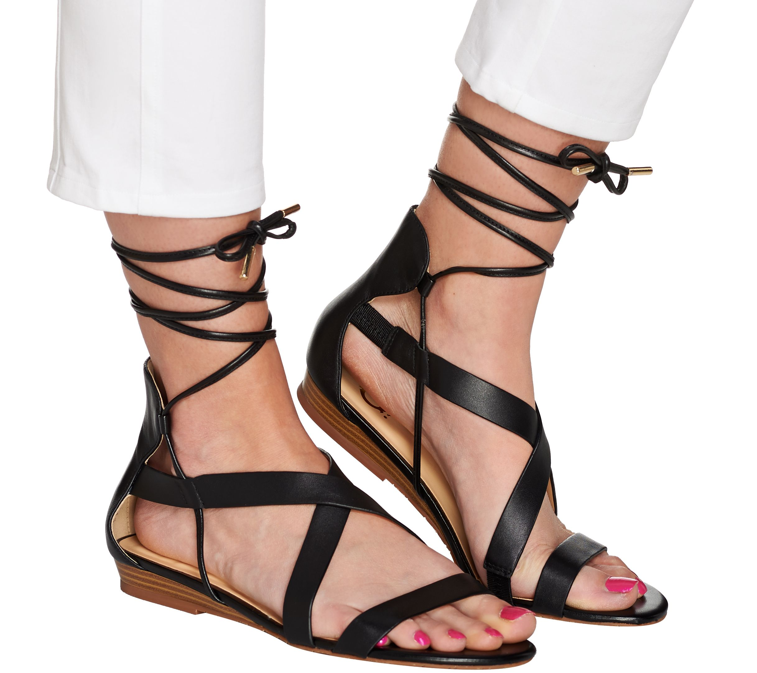a6ed3639534c C. Wonder Lace-up Leather Gladiator Sandals - Lyla - Page 1 — QVC.com