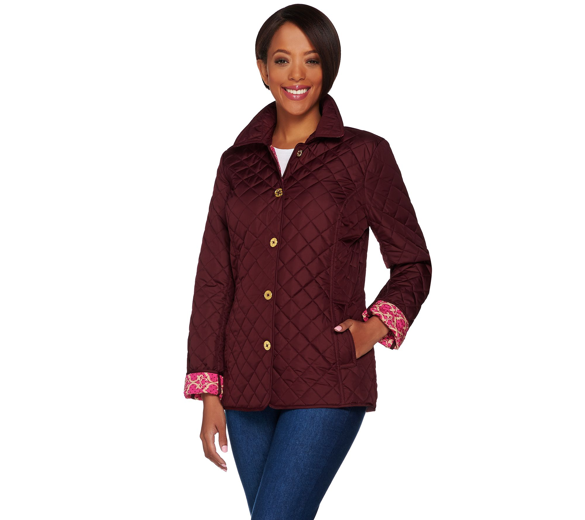 33aad5a7f C. Wonder Water Resistant Quilted Barn Jacket with Printed Lining — QVC.com