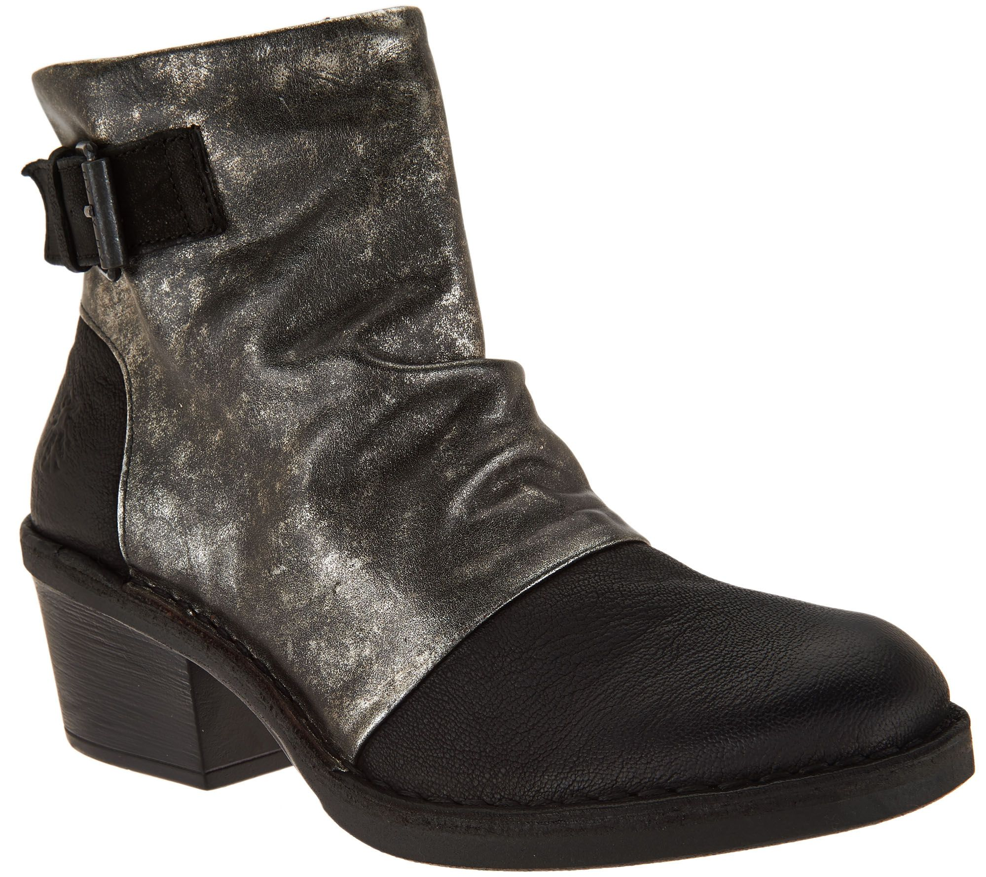 7a2d64760879 FLY London Leather Block Heel Boots - Dape - Page 1 — QVC.com