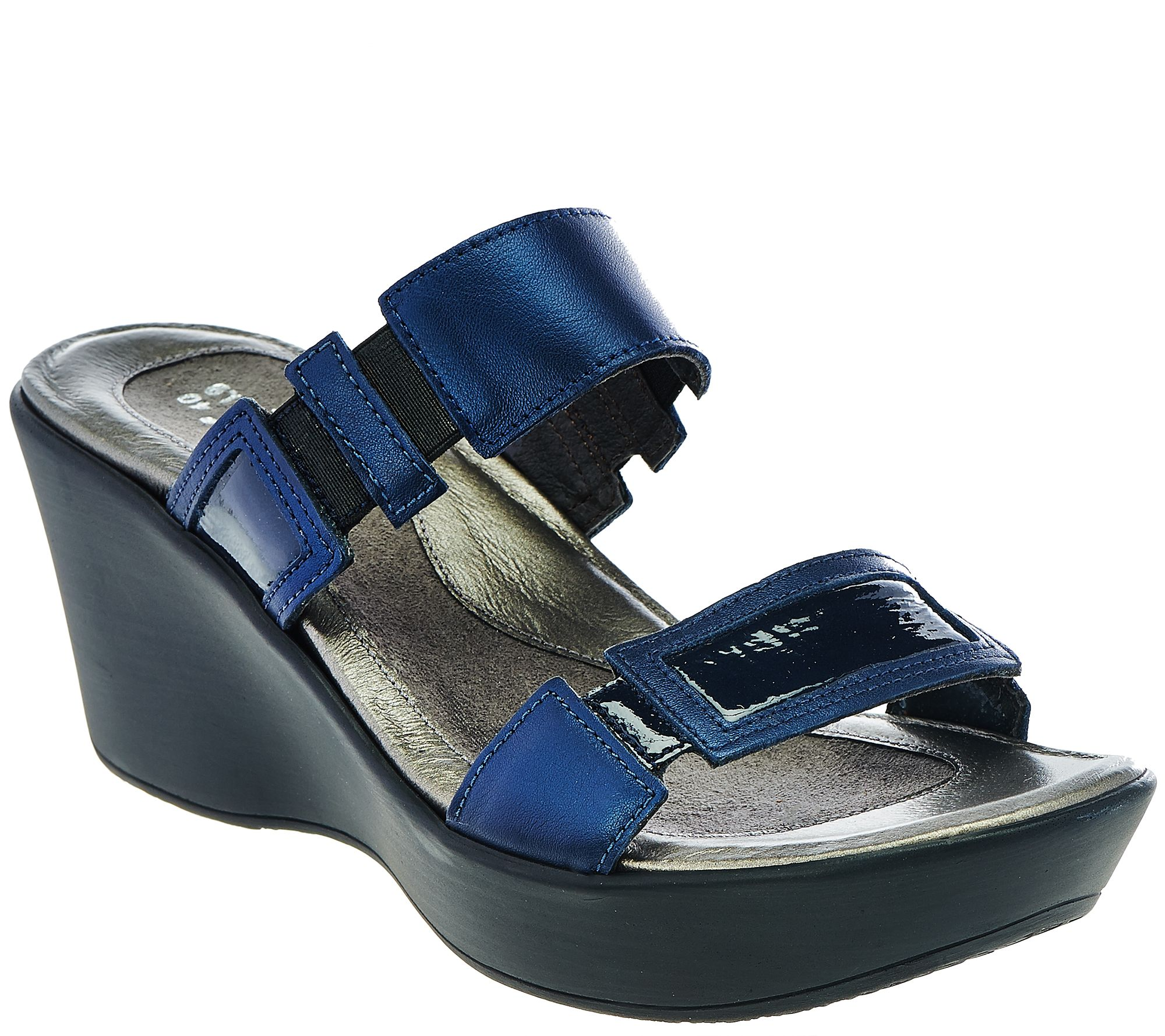 da8f9889c Naot Leather Double Strap Wedge Sandals - Treasure - Page 1 — QVC.com