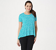 Susan Graver Printed Liquid Knit Short Sleeve U-Neck Top - A289404