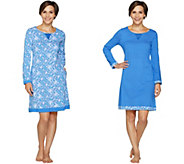 Carole Hochman Floral Fields & Geo Cotton Sleepshirt Set - A293904