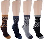 MUK LUKS Jojoba Snowflake Socks Set of 4 - A297904