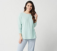 AnyBody Loungewear Cozy Knit Striped Dolman Sleeve Top - A302404