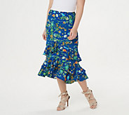 Linea by Louis DellOlio Wild Flower Pull On Ruffle Skirt - A302604
