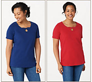 Quacker Factory Set of 2 Keyhole Neck Short Sleeve Knit T-shirts - A305404