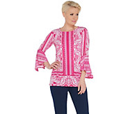 Susan Graver Printed Liquid Knit Bell Sleeve Tunic - A306504