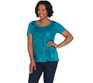 Bob Mackies Short-Sleeve Sequin Front Knit Top - A310804