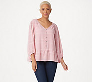 H by Halston Striped Button Front Top with Blouson Sleeves - A352404