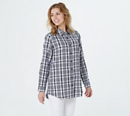 Joan Rivers Long Sleeve Plaid Shirt with Gingham Detail - A378304