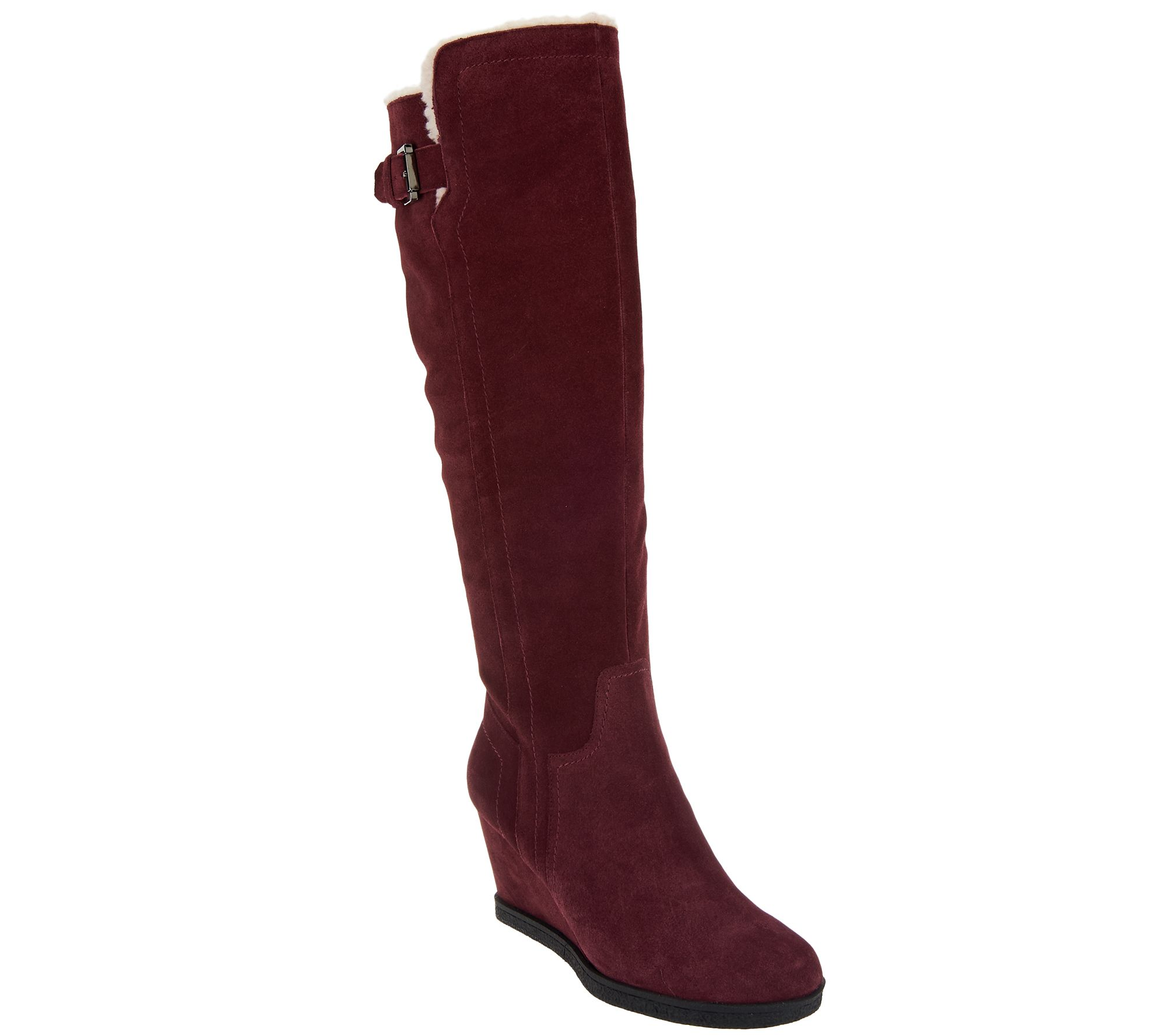 a4fbae19f33f Isaac Mizrahi Live! Suede Wedge Tall Boots w  Faux Sherpa - Page 1 — QVC.com