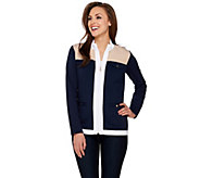 Susan Graver Weekend French Terry Color-Block Zip Front Jacket - A273505