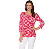 Susan Graver Printed Liquid Knit 3/4 Sleeve Tiered Top - A275205
