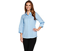 Joan Rivers 3/4 Sleeve Swiss Dot Button Front Blouse - A275705