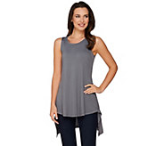LOGO Layers by Lori Goldstein Knit Tank with Back Asymmetric Hem - A275805