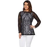 Susan Graver Stretch Lace Tunic & Tank Set - A277805