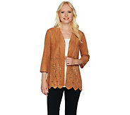 Joan Rivers Faux Suede Cardigan with Laser Cut Detail - A280805