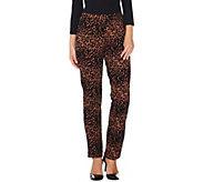 Women with Control Petite Leopard Flocked Ponte Knit Slim Leg Pants - A284105