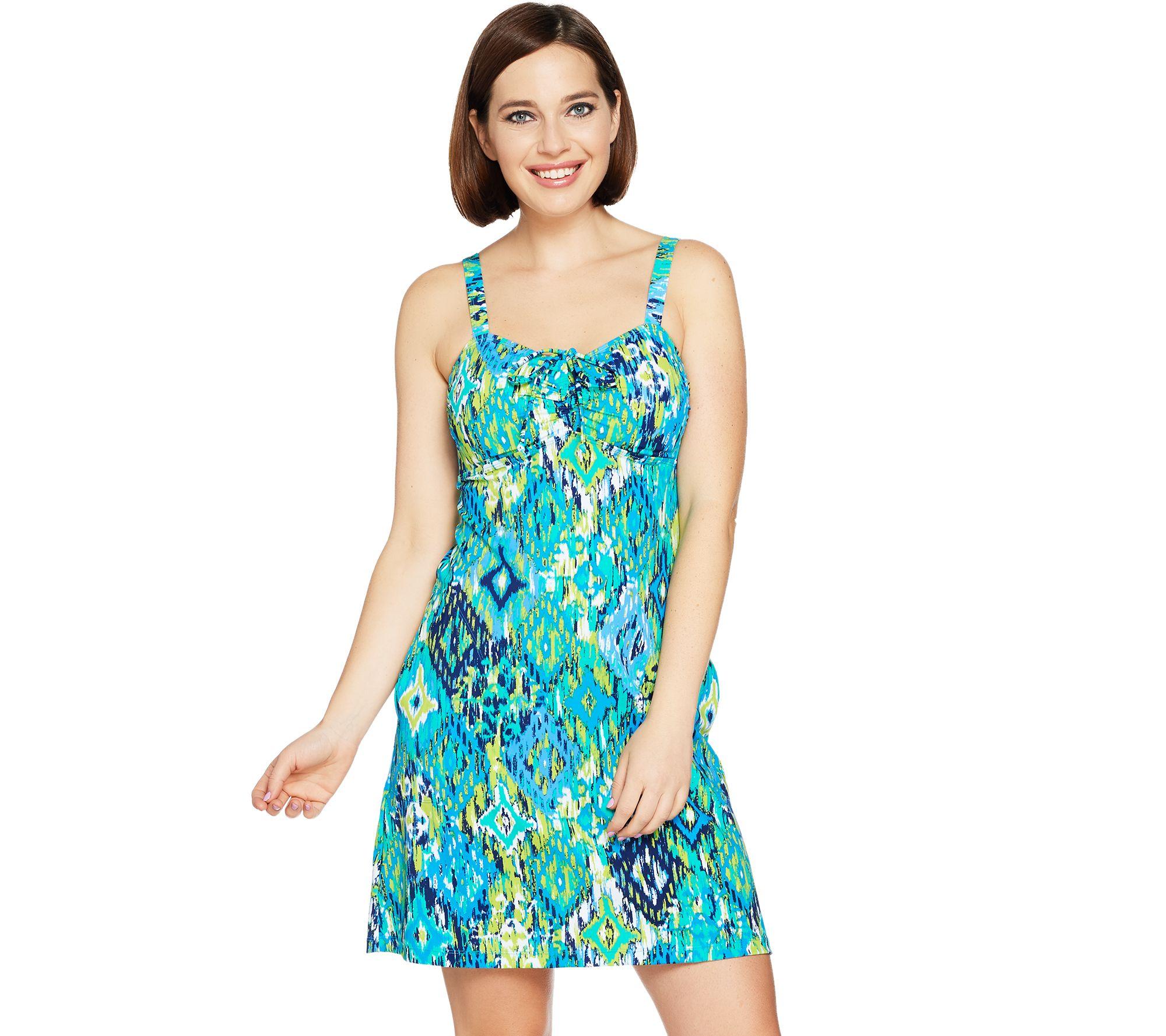cd037f62a402e Denim   Co. Beach Drawstring Ruched Swim Dress - Page 1 — QVC.com